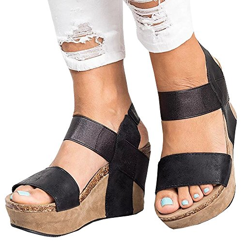 Wedge Leather Sandals Thongs Heel (Ashuai Cork Sole Thong Wedge Sandals Metallic Faux Leather Heel Sandal (10 B(M) US - EU Size 41, Y-Black))