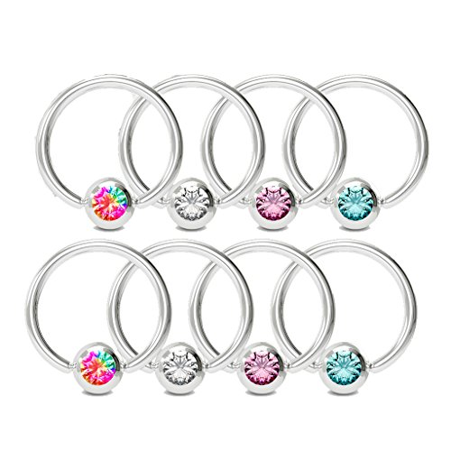 MoBody 8PCS Captive Bead Ring Set 16G Annealed 316L Surgical Steel Nose Septum Tragus Piercing Hoop Value Pack (14G - 10mm Inner Diameter) ()