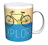 bicycle coffee mug - Explore Yellow Bicycle Inspirational Motivational Ceramic Gift Coffee (Tea, Cocoa) 11 Oz. Mug