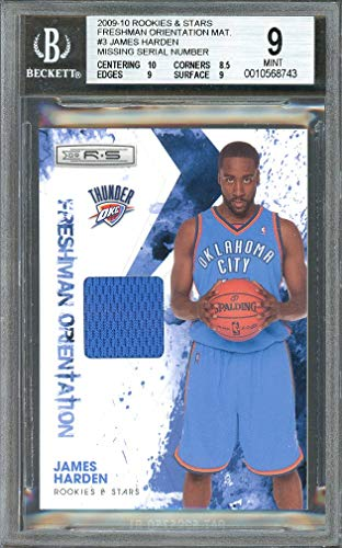 2009-10 rookies & stars freshman orientation mat jerseys #3 JAMES HARDEN BGS 9 Graded Card