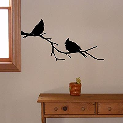 YINGKAI Animal Cardinals on a Branch Decal State Bird Living Room Vinyl Carving Wall Decal Sticker for Kids Room Home Window Decoration: Home Improvement