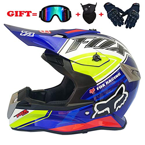 yaning Motocross/ATV/Dirt Bike 3-pc Gear Combo Set - Helmet, Gloves & Goggles - DOT Certified (4 Size, Multicolor) -