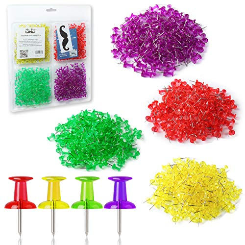 Mr. Pen- Push Pins, Thumb Tacks, Pack of 640 Pins, Tacks, Pin, Push Pins for Cork Board, Map Pins, Thumbtacks, Clear Colored Pushpins, Wall Tacks, Wall Pins, Stick Pins, Bulletin Board Pins, Map Tacks