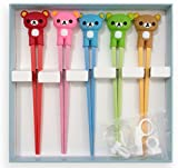 Training chopsticks for kids adults and beginners - 5 Pairs with one white learning chopstick helper - right or left handed