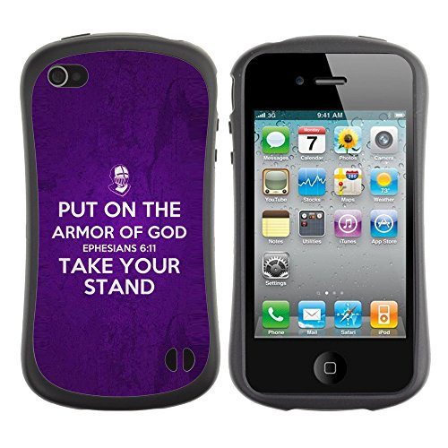 DREAMCASE Citation de Bible Silicone et Rigide Coque Protection Image Etui solide Housse T¨¦l¨¦phone Case Pour APPLE IPHONE 4 / 4S - EPHESIANS 6:11 PUT ON THE ARMOR OF GOD