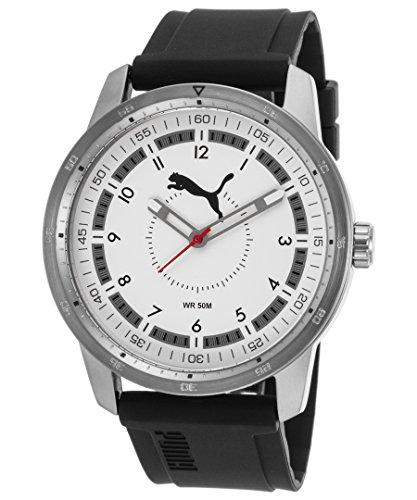 Puma PU104111004 Men's White Dial Black Rubber Strap Quartz Watch