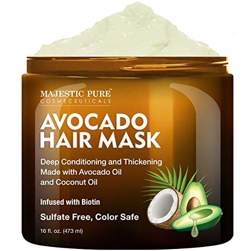 MAJESTIC PURE Avocado and Coconut Hair Mask for Dry Damaged Hair – Infused with Biotin – Deep Conditioning, Hair…