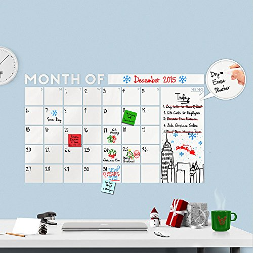 Huge 2019 Modern Monthly Dry Erase Wall Decal Calendar with Memo w/Dry Erase Marker - A Todeco -