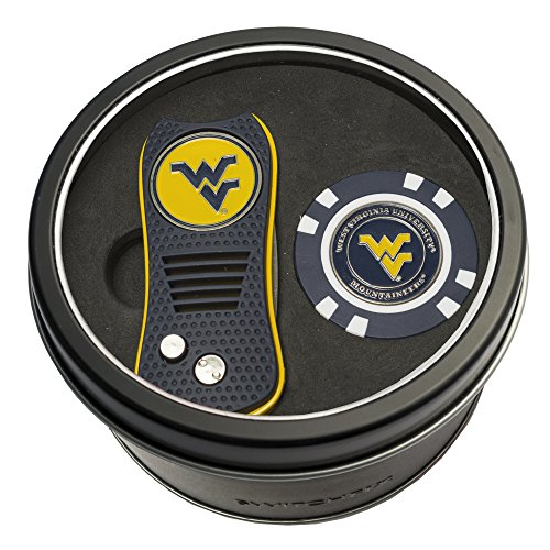 Team Golf NCAA West Virginia Mountaineers Gift Set Switchblade Divot Tool & Chip, Includes 2 Double-Sided Enamel Ball Markers, Patented Design, Less Damage to Greens, Switchblade Mechanism