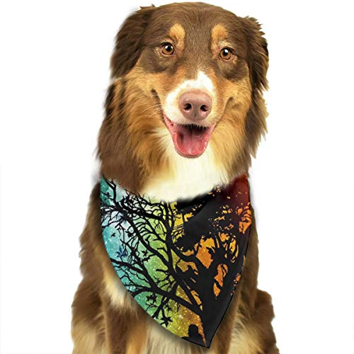 WUGOU Dog Bandana Trance Tree Sun Moon Cute Pet Pack Washable Triangle Bibs Scarfs Kerchief Set Accessories for Dogs and Cats ()
