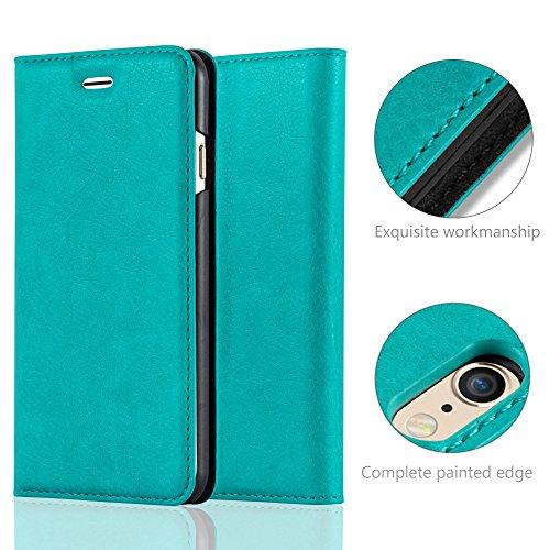 Cadorabo - Funda Book Style Cuero Sintético en Diseño Libro Apple iPhone 6 / 6S - Etui Case Cover Carcasa Caja Protección con Imán Invisible en MARRÓN-CAFÉ TURQUESA-PETROL