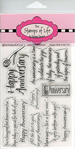 The Stamps of Life Happy Anniversary Stamps for Card-Making and for Scrapbooking by Stephanie Barnard - Anniversary2Celebrate Sentiments