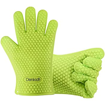 Silicone BBQ Gloves, Cooking Gloves for Grilling, Baking, Cooking by Denkich