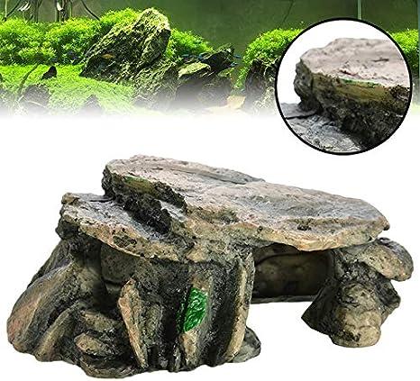 GCSEY Acuario Cueva Escondite Reptil Roca Trepante Terrario Accesorios Piedras para Decoración Fish Tank