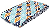 Bacati Liam Aztec Quilted Top Cotton Percale with Polyester Batting Diaper Changing Pad Cover, Aqua/Orange/Navy