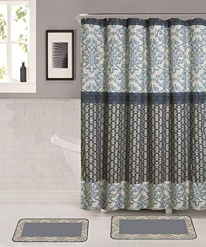 Memory Foam Elegant Design Light Blue Machine Wash Hooks Shower Curtain 2 Bath Mats Non-Slip Mat Memory Foam Bathroom Mat Rug Set with Matching Shower Curtain /& Roller Hooks
