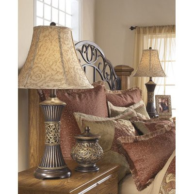 Alcott Hill Shawe 28.5'' H Table Lamp with Bell Shade Set of 2, Bronze and gold