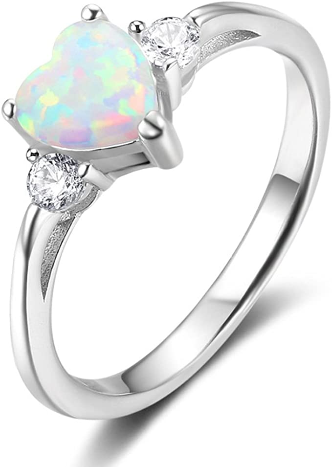 Details about  /Women 7mm 925 Sterling Silver Blue Opal Heart Promise Vintage Style Ring Band