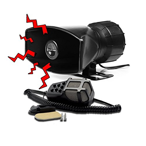Car Talk System (Zento Deals Universal and Weather Proof 12V DC 80 Watts Black 7 Siren Sounds Car Horn with Microphone for PA System)