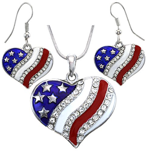 Soulbreezecollection USA American Flag Heart Patriotic 4th of July Independence Day Pendant Necklace & Dangle Earrings -