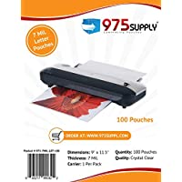 975 Supply - 7 Mil Clear Letter Size Thermal Laminating Pouches - 9 X 11.5 - 100 Pouches