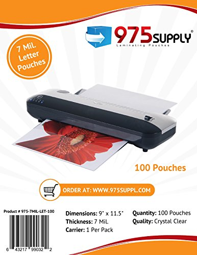 "975 Supply - 7 Mil Clear Letter Size Thermal Laminating Pouches - 9"" X 11.5"" - 100 Pouches"