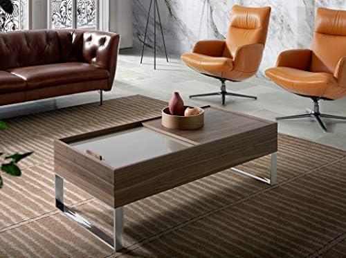Angel Cerdá Table basse en bois de noyer, pieds en acier chromé, avec trépied coulissant laqué en couleur soie, rectangulaire, style moderne