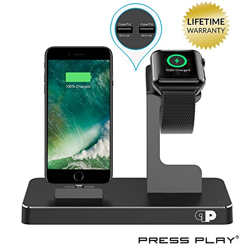 ONE Dock (APPLE CERTIFIED) Power Station Dock, Stand & Built-In Lightning Charger for Apple Watch Smart Watch (Series 1,2,3, Nike+), iPhone X/10/8/8 Plus/7/7Plus/6s/6s, iPad & iPod (Aluminum) – Black (Iphone Edition Gold 5s)
