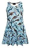 Girl's Children's Cute Sharks Sealife Animal Print Sleeveless Skater Dress (9-10 Yrs)
