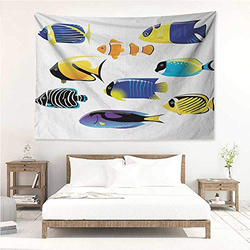 Fish,Tapestries for Sale Various Types of Sea Creatures with Atlantic Cod Bonito Palette Surgeonfish Image 80W x 60L Inch Mattress, Tablecloth Multicolor