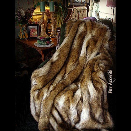 Plush Golden Brown and Creamy Wolf White Coyote Stripe - Premium Quality Faux Fur - Designer Throw Blanket - Soft Minky Cuddle Fur Lining (5'x7') (Fur Coyote)