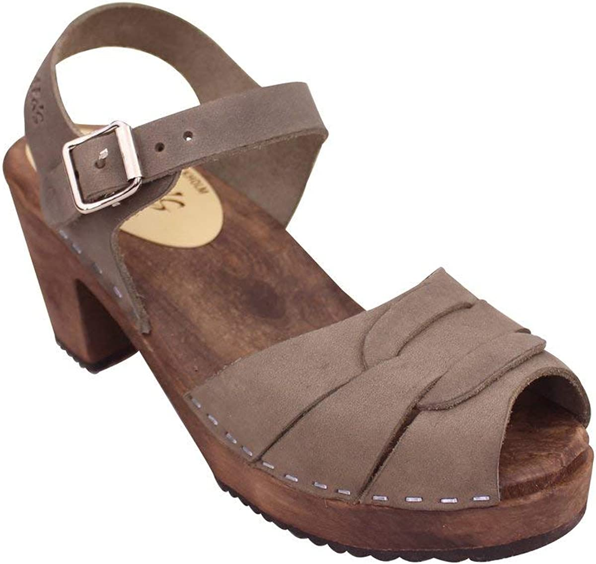 READY to SHIP Felted wool wedge clogs for woman in dark gray with moss coloured silk size EU39us women/'s 8.5