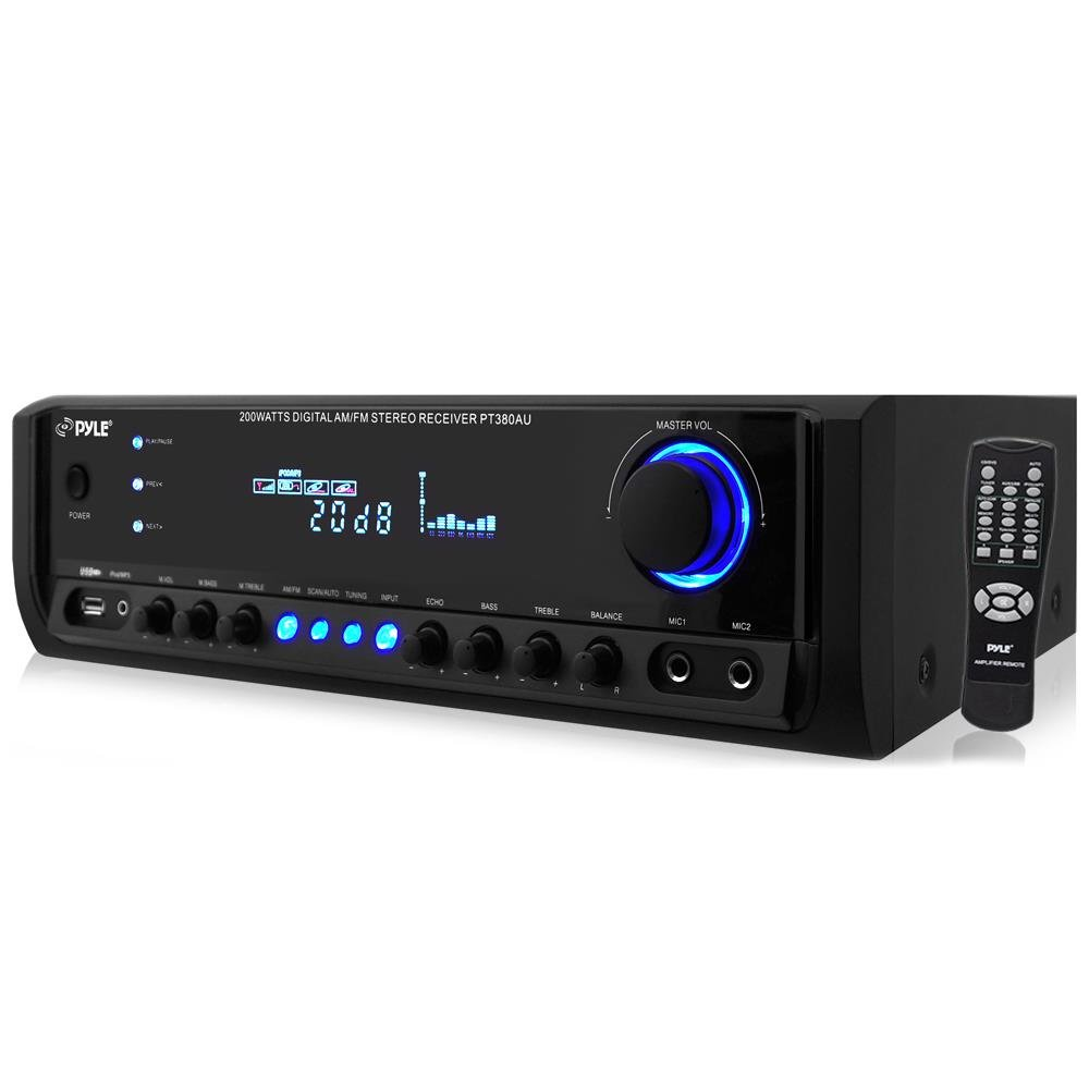 Home Audio Power Amplifier System - 200W 4 Channel Theater Power Stereo Receiver Box, Surround Sound w/USB, RCA, AUX, Mic w/Echo, LED, Remote - For Speaker, iPhone, PA - Pyle PT380AU by Pyle