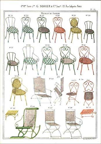 meubles-de-jardins-c1900-mise-en-couleurs-pop-art-original-vintage-postcard