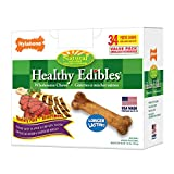 Nylabone Healthy Edibles Natural Dog Chews - Roast Beef and Chicken Dog Treats - 34 Count