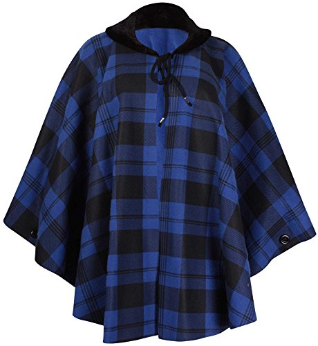 (PurpleHanger Women's Plus Size Check Print Fleece Poncho Cape Royal Blue One Size)