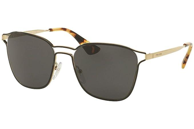 Prada PR54TS Gafas de Sol Negro Oro Pálido con Lentes Gris ...