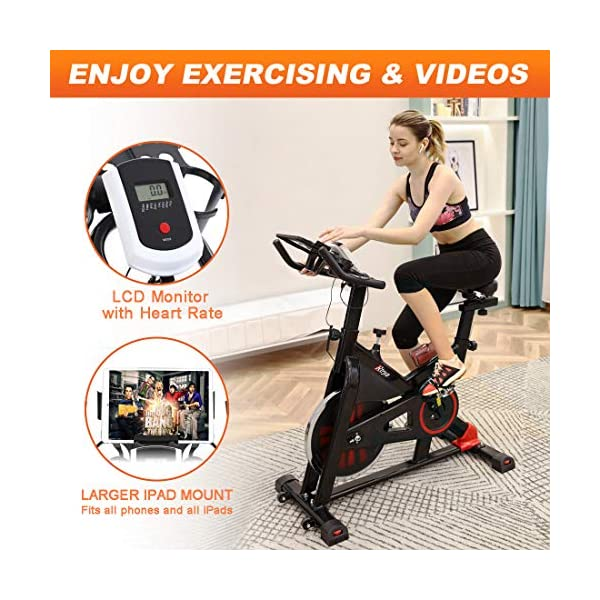 Gray TRYA Spin Bike Belt Drive Indoor Cycling Bike Stationary with Ipad Mount 35 LBS Flywheel Workout Bike for Home Cardio Gym with LCD Monitor /& Comfortable Seat Cushion