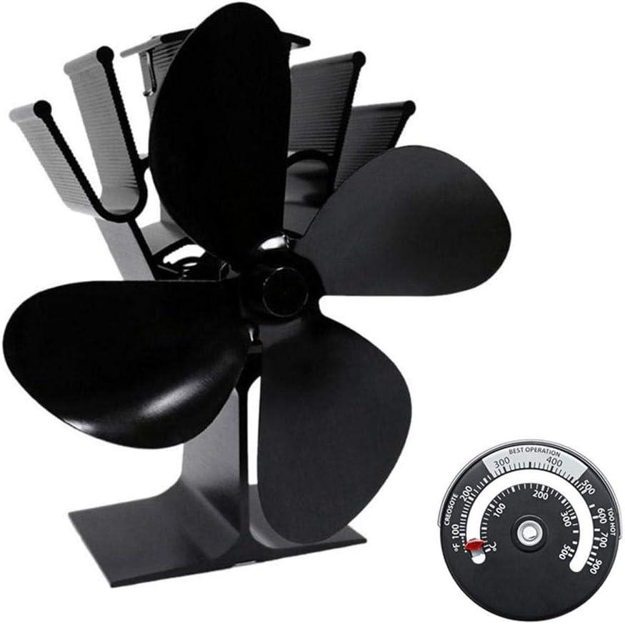Ventilador con 4 aspas para estufa y chimenea (4 aspas) Ventilador para Estufa de Leña o Chimenea en Invierno, con 4 aspas, Calefacción de Energía Térmica
