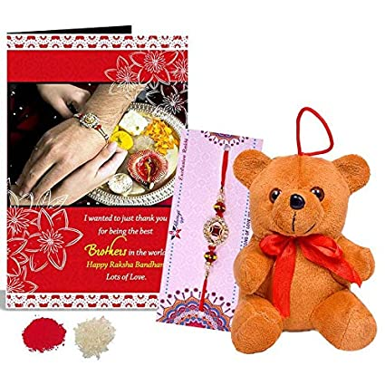 Buy designer red gem rakhi happy raksha bandhan greeting card designer red gem rakhi happy raksha bandhan greeting card teddy hamper m4hsunfo
