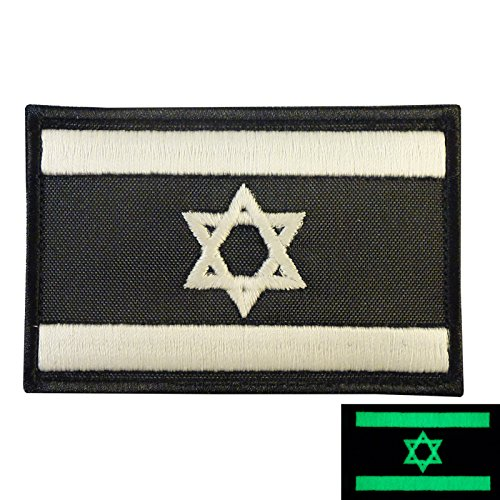 LEGEEON Glow Dark Israel Flag IDF Morale Star David Army Embroidered Touch Fastener Patch -