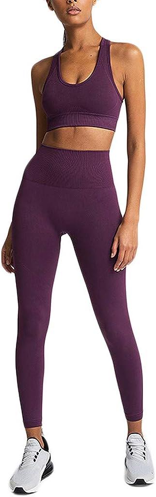MEIbax Fitness Running Deportes Talle Alto Tank Top Pantalones Yoga Conjuntos de Deporte Mujer 2 Piezas Conjunto para Mujer