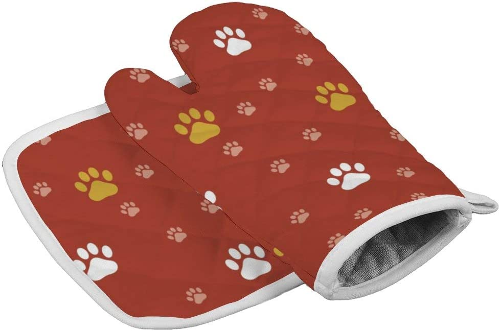 rfy9u7 Oven Mitts and Pot Holder Set, Heat Resistant Oven Gloves with Red Festival Dog Footprints, Non-Slip Cooking Gloves for Cooking Baking Grilling