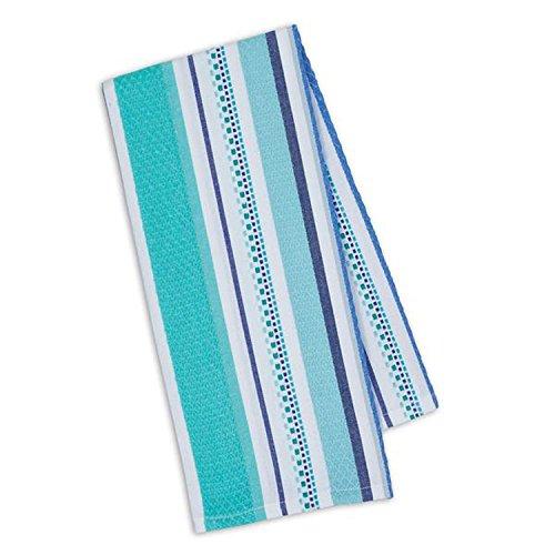 Santorini Stripe - Design Imports Blue Santorini Cotton Table Linens, Dishtowel 18-Inch by 28-Inch, Santorini Dobby Stripe