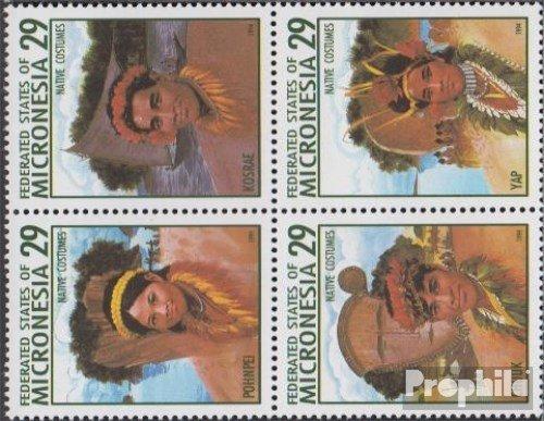 Mikronesien 356-359 Bloc de Quatre Timbres pour Les collectionneurs 1994 Traditionnelles Costumes Uniformes // Costumes compl/ète.Edition.