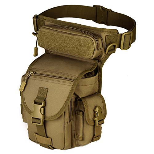 Protector Plus Huntvp Tactical MOLLE Drop Leg Bag Panel Utility Pouch Bag Cross Over Leg Rig Versipack Thigh Pack Military-Brown