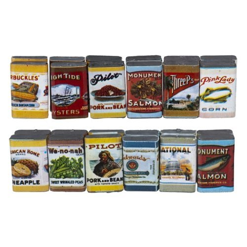 """Dollhouse Miniature """"Boxes"""" of Food, Pre 1900 Labels, Pkg of 24 from Town Square Miniatures"""