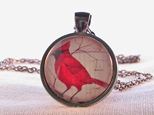 - Cardinal Necklace Round Glass Pendant Red Bird Wearable Art Bird Necklace Birthday Gift