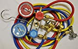 R22 R134a R404a R12 Manifold Gauge Set+5ft Hoses+Car AC Quick Snap-on Couplers Adapters Can Tap Charging Diagnosis Recovery HVAC Home Office AC Car AC
