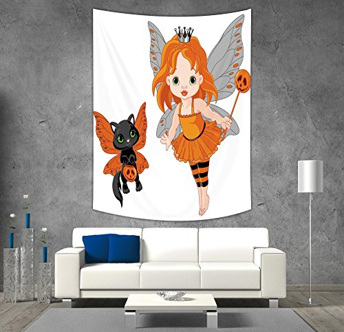 iPrint Polyester Tapestry Wall Hanging,Halloween,Halloween Baby Fairy and Her Cat in Costumes Butterflies Girls Kids Room Decor Decorative,Multicolor,Wall Decor for Bedroom Living Room Dorm
